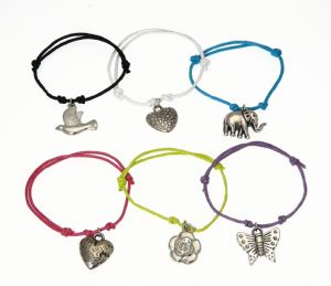 Set of 6 Childrens Bright Coloured Cord Bracelets With Assorted Charms